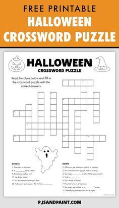 Halloween Crossword Puzzles, Free Printable Crossword Puzzles, Halloween Puzzles, Halloween Word Search, Halloween Maze, Halloween Worksheets, Halloween Words, Halloween Activities For Kids, Halloween Season