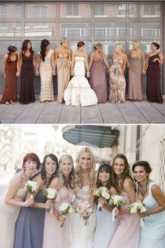 Mismatched bridesmaids all unique Mismatched Bridesmaid Dresses in Neutral Colors photo. But short? Lavender Bridesmaid Dresses, Mismatched Bridesmaid Dresses, Bridesmaids And Groomsmen, Wedding Bridesmaids, Tan Wedding, Wedding Gowns, Dream Wedding, Wedding Story, Wedding Attire