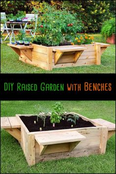 Make gardening comfortable by adding benches to your raised garden bed!