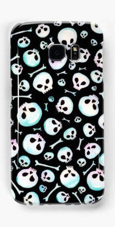 Cute pastel skulls on Samsung Galaxy phone cases.  Shop here: http://www.redbubble.com/people/marianamello/works/23633031-cute-skulls-spooky-graveyard-pastel-goth?asc=u&c=622260-patterns&p=samsung-galaxy-case&rel=carousel