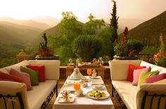 Kasbah Tamdot is an award winning hotel near Marrakech. Situated in the Atlas Mountains, Kasbah Tamadot is one of the finest luxury hotels In Morocco. Outdoor Rooms, Outdoor Dining, Outdoor Decor, Outdoor Seating, Dining Area, Outdoor Lounge, Party Outdoor, Outdoor Couch, Outdoor Pillow