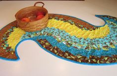 Yellow and Teal Table Runner, $69.0