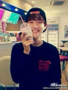 Baekhyun seems so happy with his drink Baekhyun, U Kiss, My Little Baby, Exo K, Big Love, Girls Generation, Your Smile, Kdrama, Rapper