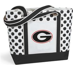 $24 Seeing spots? It's our new Polka Dot tote. Thick natural canvas is accented with your team color straps with double thick bottom and decorative dots. It features and outside pocket and shoulder length straps and the Georgia Bulldogs Logo