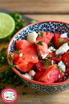 Insalata di anguria e feta - Watermelon and greek feta salad
