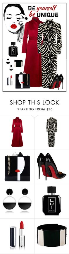"""Alessandra Rich Zebra Print Velvet Gown"" by romaboots-1 ❤ liked on Polyvore featuring The Row, Alessandra Rich, Les Petits Joueurs, Christian Louboutin, Marni, Guerlain and Givenchy"
