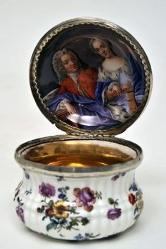The Bowes Museum: Enameled jar and lid (possibly a snuff box), c.1750  #antique #vintage #box