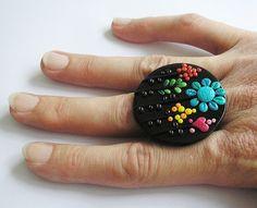 handmade polymer clay ring, rainbow nature