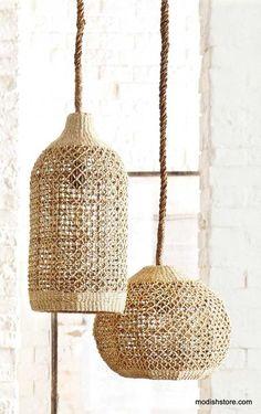 roost abaca woven pendants