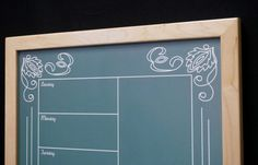 """Our Green """"Artisan"""" Chalkboard Whiteboard comes in a Weekly Calendar/Meal Planner (shown), Monthly Calendar or Message Board design!"""