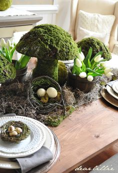 table with moss mushroom topiary