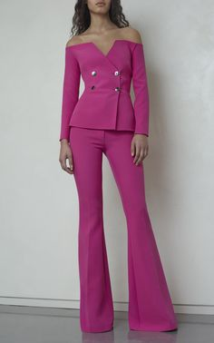 Shop Kamile Very Berry Jacket. This **SAFiYAA** Kamile Very Berry Jacket features an off the shoulder design, double breasted silhouette, and fitted long sleeves. Suit Fashion, Pink Fashion, Couture Fashion, Fashion Dresses, Womens Fashion, Mode Chic, Mode Style, Elegantes Outfit Frau, Mode Ootd