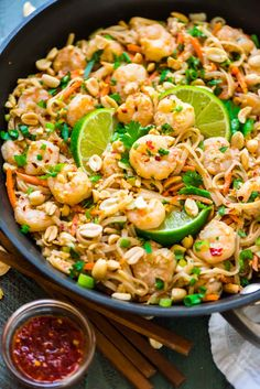 Healthy Shrimp Pad Thai. EASY and SO delicious! Ready in 15 minutes. We couldn't stop eating it! Recipe at wellplated.com @wellplated gluten free
