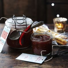 This tomato jam is like a grown up version of tomato ketchup, but so much better! A lovely homemade present with some cheese and biscuits.