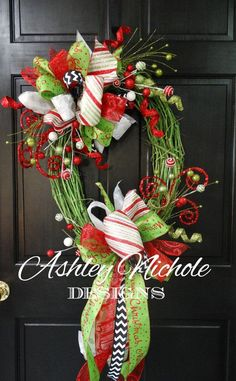Green Grapevine Christmas Wreath Christmas by DesignsAshleyNichole