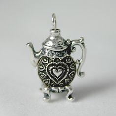 Tea Jewelry Silver Heart Bead Teapot Earrings