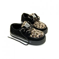 T.U.K. Shoes Kids Creeper Sneaker Leopard Print