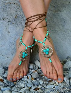 ON SALE barefoot sandals Barefoot Beach Jewelry Barefoot Beach, Barefoot Shoes, Bare Foot Sandals, Gladiator Sandals, Beach Anklets, Beach Jewelry, Running Shoes, Jewelry Accessories, Boho