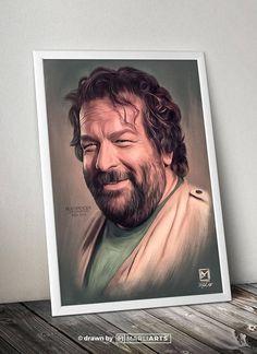 Bud Spencer, Held, Italien, Kunstwerk, handgemacht, druckbare Kunst, Poster, Sofort Download, Digitaldruck, Dekor, Wandkunst, Herunterladen. ------------------------------------------------ Dieses Angebot gilt für ein SOFORT DOWNLOAD für dieses mit Hand gezeichnete Kunstwerk. Du erhälst