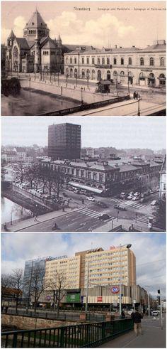 Synagogue et ancienne gare vers 1900 (Carte postale ancienne) - Début de la construction du complexe des Halles vers 1970 (DR) - Place des Halles aujourd'hui (Photo MM / Rue89 Strasbourg)