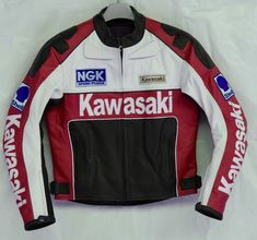Kawasaki Red Motorcycle Pure Leather Jacket Men Racing Moto Sports Rider - Outerwear