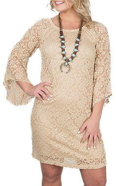Jody Women's Stone Lace 3/4 Length Bell Sleeve Dress | Cavender's