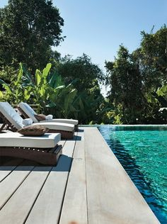 Wooden deck close to pool