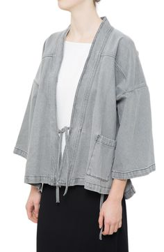 In light grey denim, the kimono-style Satori Jacket ($375) by @untitledmusing is…