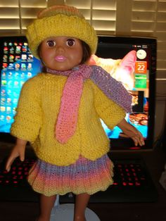 Ladyfingers - AG doll - Short Coat with Bias Scarf, Basic Dress, and Hat