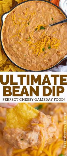 Ultimate Bean Dip made with refried beans, cream cheese, salsa, cheddar, and taco seasoning is the ultimate party dip, and is ready in only 5 minutes! #dip #appetizer #superbowl #party #tailgating #withcreamcheese #cheesy #homemade #best #taco #simple #dinnerthendessert Party Dips, Appetizers For Party, Simple Appetizers, Party Snacks, Appetizers Superbowl, Best Superbowl Food, Football Food, Party Games, Bean Dip Recipes