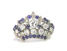 Estate 1.09 ctw Diamond & 1.00 ctw Sapphire 14K White Gold Ring Approx.Wt.