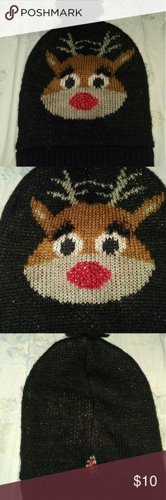 NWOT RUDOLPH HAT Black with Rudolph on it. Nose is red glitter. Really cute. Accessories Hats