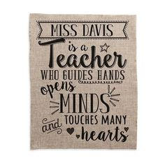 Personalized Planet 'Teacher Touches Many Hearts' Personalized Burlap... (38 BRL) ❤ liked on Polyvore featuring home, home decor, wall art, burlap home decor, burlap wall art, inspirational signs, personalized signs and heart wall art