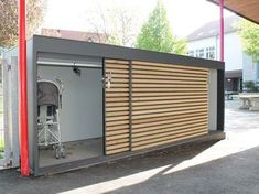 FMH: garden sheds / design garden houses, FMH metal construction and timber construction, Stuttgart . FMH: Garden sheds / design garden houses, FMH metal construction and timber construction, Stuttgart / Fellbach. Carport With Storage, Outside Storage, Outdoor Storage Sheds, Outdoor Sheds, Shed Storage, Storage Containers, Garage Storage, Garage Velo, Bike Shed