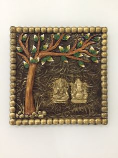 Laxmi and Ganesh intricately hand crafted on wooden base . Perfect Diwali gifts for home decor Clay Art Projects, Clay Crafts, Arts And Crafts, Ceramic Painting, Ceramic Art, Diy Wall Art, Diy Art, Name Plate Design, Mural Art