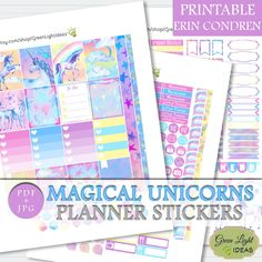 Unicorns Planner Stickers Printable, Erin Condren Printable Sticker Kit, ECLP Weekly Planner Kit Digital, Vertical Planner Sticker Printable by GreenLightIdeas on Etsy