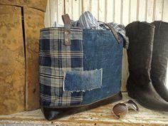 JAPANESE BORO TOTE Bag Purse Handwoven Indigo Dyed Early 1900's