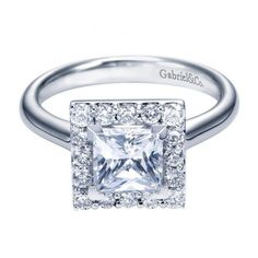 1.65cttw Princess Cut Halo Diamond Engagement Ring with Plain Shank