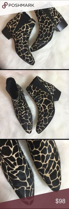 URBAN OUTFITTERS 🌟 FUR GIRAFFE ANKLE BOOTIES, 39 Size 39. (Please be aware of you Urban Outfitters sizing prior to purchase).  Minor wear and tear.  See photos for detailing.  Overall VERY NICE!  Heels have some rough spots.  Awesome heels!  Urban Outfitters ankle boots, booties!  Add some PIZZAZZ to any outfit!  🌟🌟🌟🌟🌟 AX201SX17P Urban Outfitters Shoes Ankle Boots & Booties