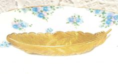 Large Gold Feather Barrette - Woodland