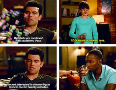 New Girl. Medieval filth cauldrons and testicle tea. New Girl Quotes, Tv Quotes, Movie Quotes, Qoutes, New Girl Funny, The Funny, New Girl Tv Show, Jessica Day, Tv Shows Funny