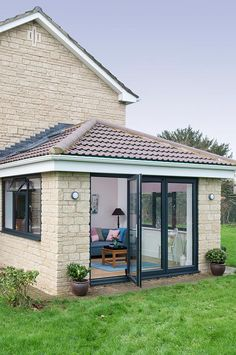 Sidet view from garden of an Everest Tiled Roof Extension with open Bi Fold doors room attached to house Tiled Conservatory Roof House Extension Plans, House Extension Design, Roof Extension, House Design, Curved Pergola, Pergola Patio, Pergola Plans, Backyard, Modern Pergola