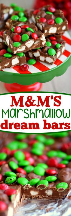 These M&M's Marshmallow Dream Bars are as easy as 1-2-3 and will disappear just that quickly. Made with just a handful of ingredients, no bake, five minutes max - these bars are most definitely what dreams are made of! An easy dessert recipe that is just perfect for the holidays! // Mom On Timeout #Christmas #recipe #easy #redandgreen #recipes #dessert #chocolate #marshmallows