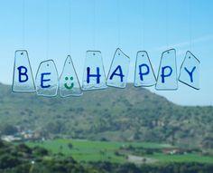 Wind chimes  Glass  Be Happy  Phrase  by TuulaGiraldoArtGlass
