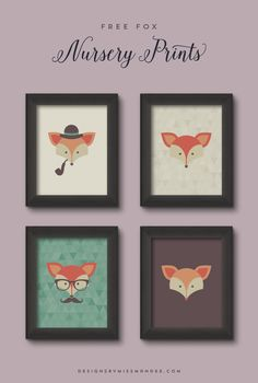 Free Fox Nursery Prints - Designs By Miss Mandee. Cute art to hang. Wall decor. Hanging printable.