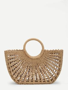 To find out about the O-Ring Handle Straw Bag at SHEIN, part of our latest Shoulder & Tote Bag ready to shop online today! Ring Der O, O Ring, Straw Tote, Basket Bag, Knitted Bags, Nantucket, Purses And Bags, Tote Bag, Designer Bags