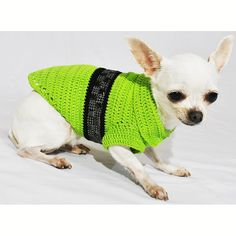 Steam Punk Dog Clothes Lime Green with Black Shiny by myknitt