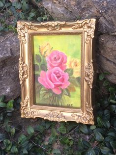 Vintage Gold Chalkware Frame & Rose Painting, Shabby Chic Decor, Hollywood Regency, Wall Decor, Glam by YellowHouseDecor on Etsy https://www.etsy.com/listing/252931477/vintage-gold-chalkware-frame-rose