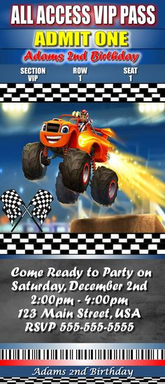 Blaze Birthday Invitations Blaze Monster by Happy 6th Birthday, 4th Birthday Parties, Boy Birthday, Birthday Ideas, Monster Truck Birthday, Monster Trucks, Blaze And The Monster Machines Party, Hot Wheels Party, Birthday Invitations