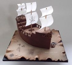 A pirate ship cake made for twin boys birthday. All the details hand painted, the sails are rice paper… So proud of myself for being brave with my airbrush, that thing scares me!Pirate ship - Cake by Sweet Little Treat - CakesDecorA pirate themed b Pirate Birthday Cake, 5th Birthday, Pirate Party, Flower Birthday, Happy Birthday, Pirate Ship Cakes, Pirate Boat Cake, Pirate Flags, Cupcake Cakes